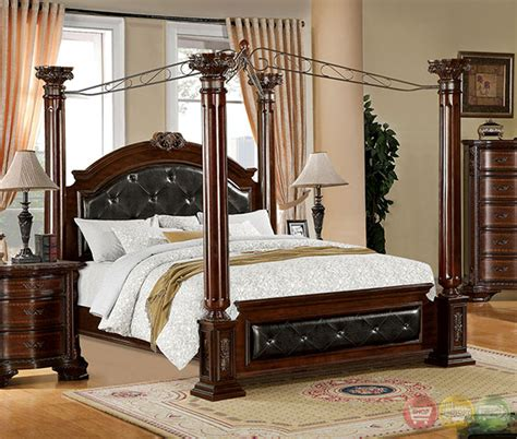 poster bedroom sets with canopy mandalay luxurious baroque brown cherry poster canopy