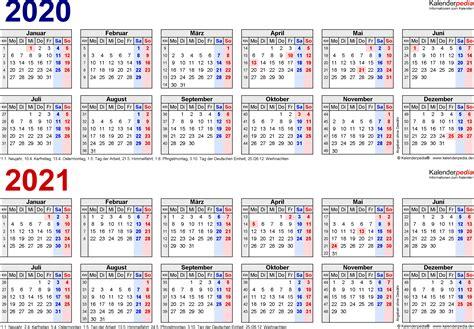 Kalender 2021 Bayern Zweijahreskalender 2020 2021 Als Pdf Vorlagen Zum Ausdrucken
