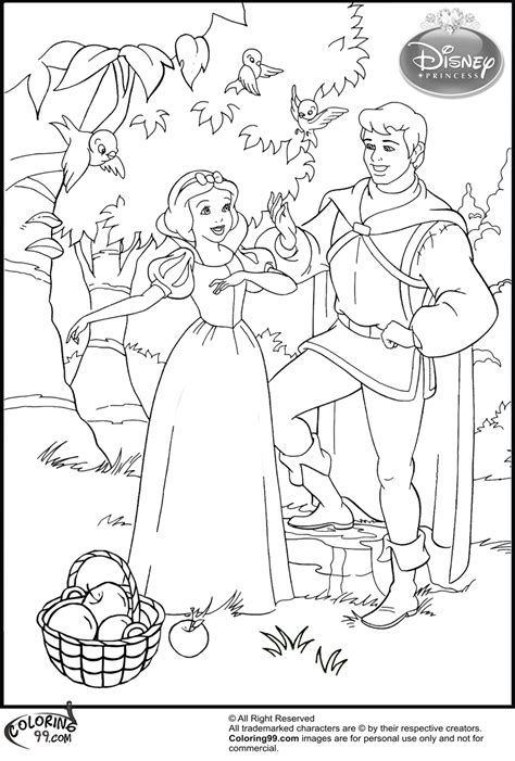 snow white and prince charming coloring pages coloring pages