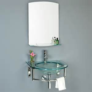 lowry wall mount glass sink with mirror and shelf