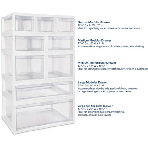 4 sterilite 23708004 large modular stacking storage drawer
