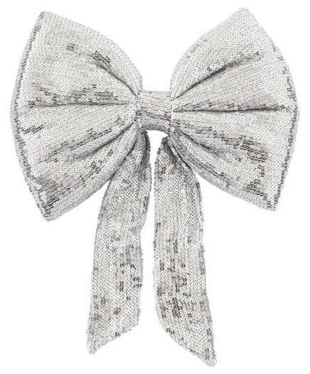 silver sequin bow tree topper contemporary christmas