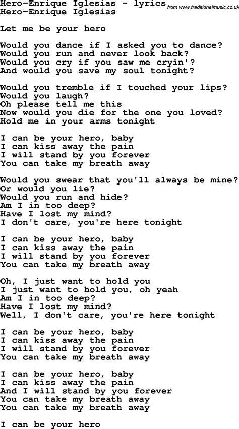 heroes printable lyrics love song lyrics for hero enrique iglesias