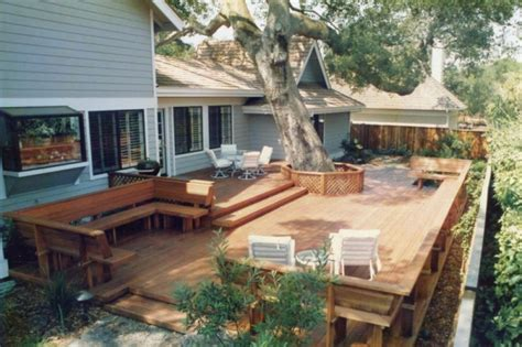deck in the backyard backyard decks this large backyard deck has a lot