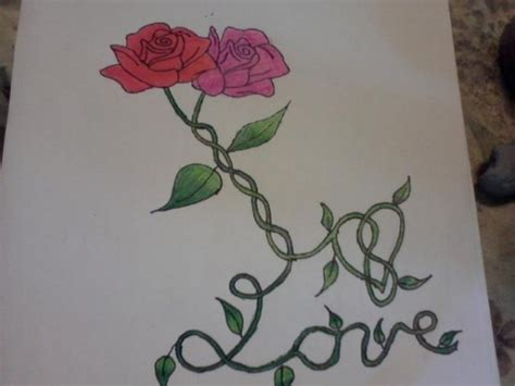 two roses intertwined by cornflower13 on deviantart