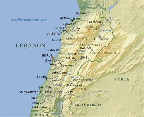 physical map of lebanon nitle arab world project
