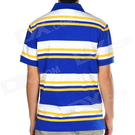 26853 Yellow On Stripe Size L fashion horizontal stripe sleeves polo shirt t shirt