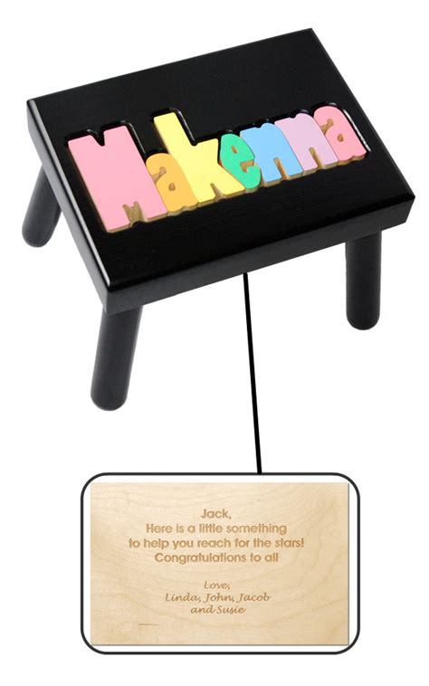 Personalized Name Stools by Personalized Name Stool Black With Pastel Colors
