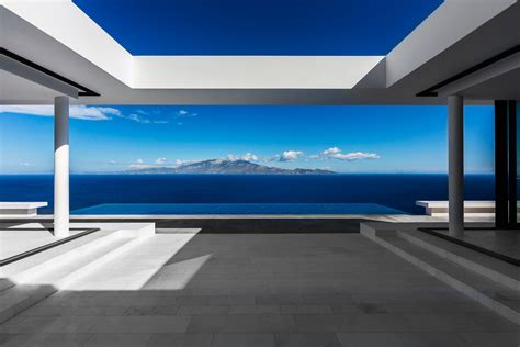 Homes With Interior Courtyards by Minimalist Greek Villa With Dramatic Ocean And Island View Idesignarch Interior Design