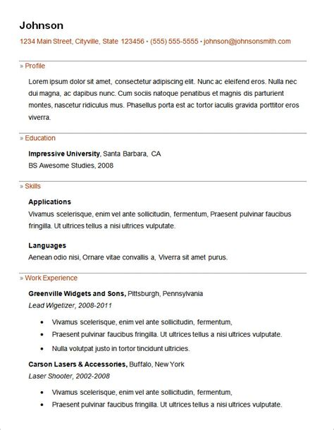 free basic resume template basic resume template 53 free sles exles format