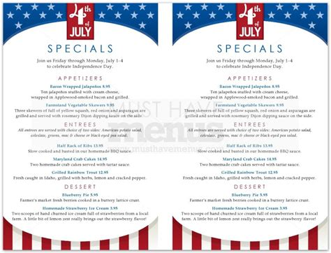 4th of july menu template 4th of july specials menu page 1