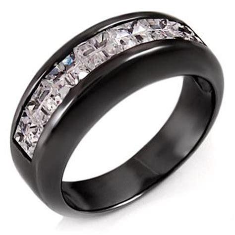 sterling silver cz s black rhodium wedding band ring