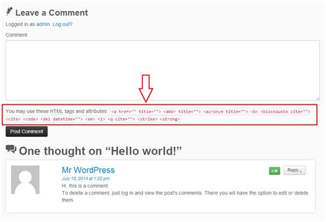 comment section in html removing the allowed html tags and attributes note after