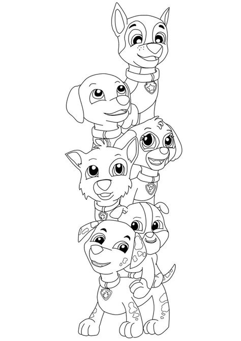 paw patrol group coloring pages printable paw patrol coloring pages of pups printable