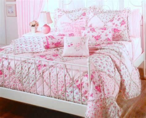 Pink Patchwork Bedding - ruffles roses pink cottage flowers patchwork