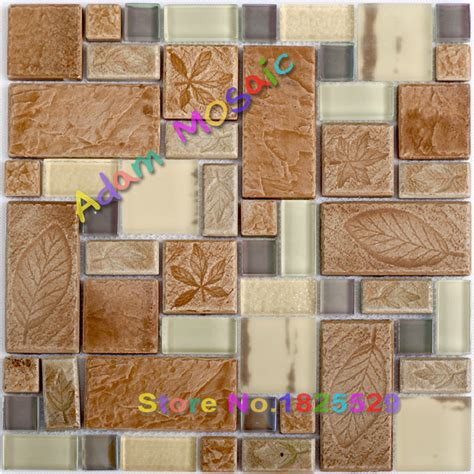 pattern ceramic wall tiles beige glss tile kitchen brown tiles backsplash leaf
