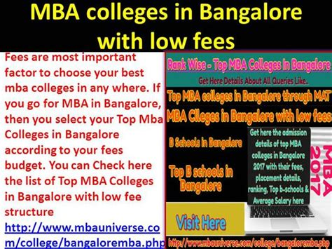 Lowest Mba Fees In Usa by Mba Colleges In Bangalore With Low Fees Authorstream