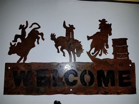 Rodeo Home Decor Rodeo Bronco Metal Welcome Sign Western Rustic Cabin Home Decor Cowboy Ebay