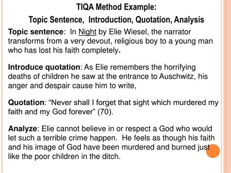 theme essay on night by elie wiesel ppt tiqa method topic sentence introduction quotation
