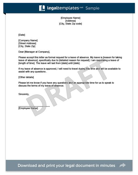 leave of absence form template leave of absence letter create a free template