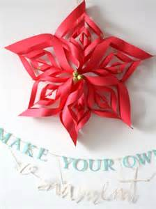 Red paper poinsettia craft amp handmade make your own ornament banner