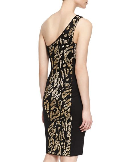 Patterned One Shoulder Dress versace collection one shoulder animal patterned dress