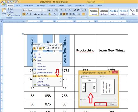 Change Table Style Word 2007 Learn New Things How To Change Text Direction In Table Text In Ms Word