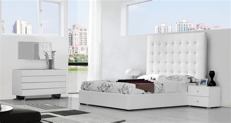 Modern Dining Room Sets Miami by Lyrica White Eco Leather Tall Headboard Bed