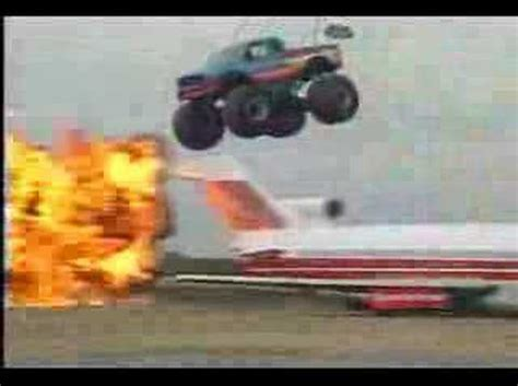 youtube bigfoot monster truck bigfoot monster truck airplane jump youtube