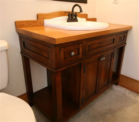 Custom Bathroom Vanity Designs by Hand Crafted Custom Wood Bath Vanity With Reclaimed Sink