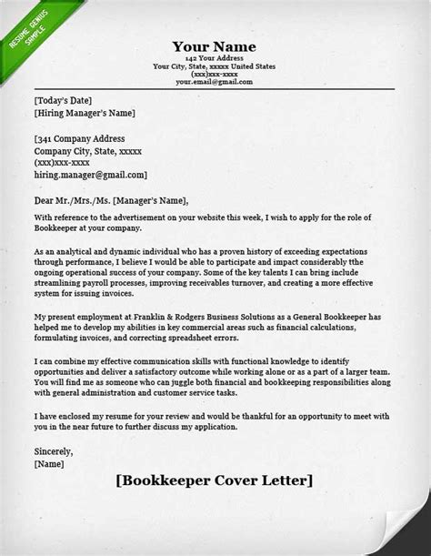 bookkeeper cover letter accounting finance cover letter sles resume genius