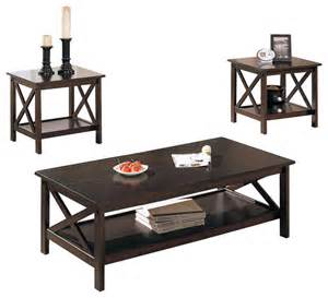 Houzz Living Room End Tables X Shape 3 Pc Brown Low Shelf Living Room Coffee End