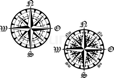 vintage compass symbols isolated on white for design