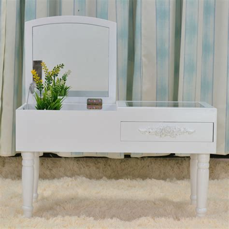 Small Makeup Vanity Desk Modern Mini Dressing Table Mirrored Dresser Makeup Vanity Table For Bedroom Small Makeup Desk