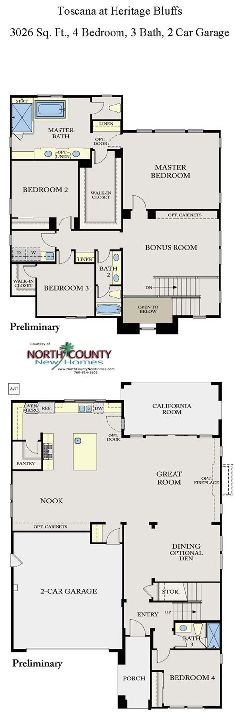 heritage homes floor plans toscana new homes in san diego floor plans