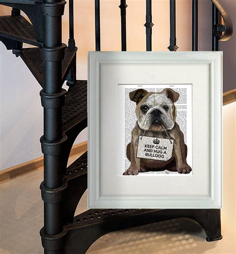 hug a bulldog bulldog print by fabfunky home decor
