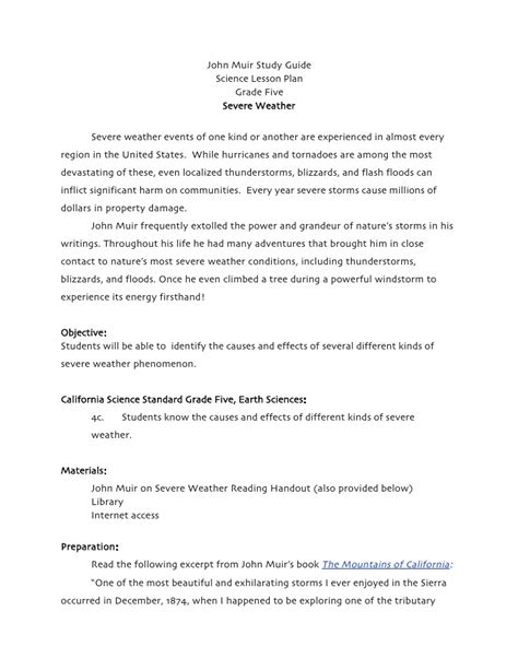 inclement weather policy template severe weather grade five science lesson plan muir