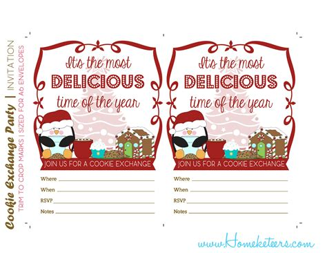 Christmas Cookie Exchange Printables Penguin Theme Free Cookie Invitations Templates
