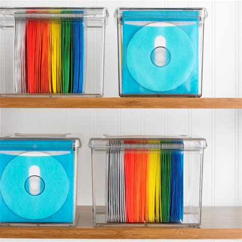 diy cd storage 120 disc rainbow acrylic storage box the container store