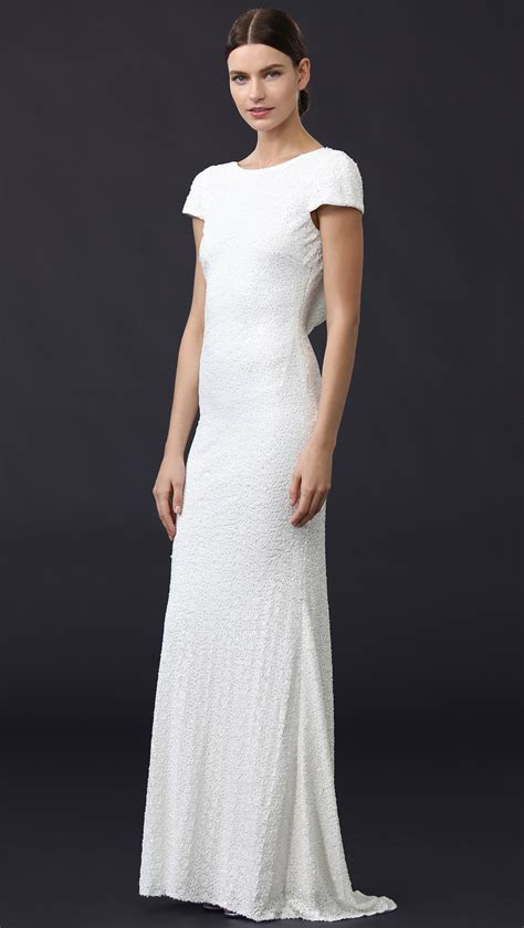 T2b Spotting The Meister Club Wear by Badgley Mischka Cap Sleeve Cowl Back Gown In White Lyst