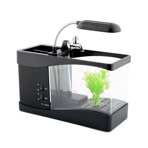 Lovely Usb Aa Mini Lcd Display Fish Tank Aquarium For Desk