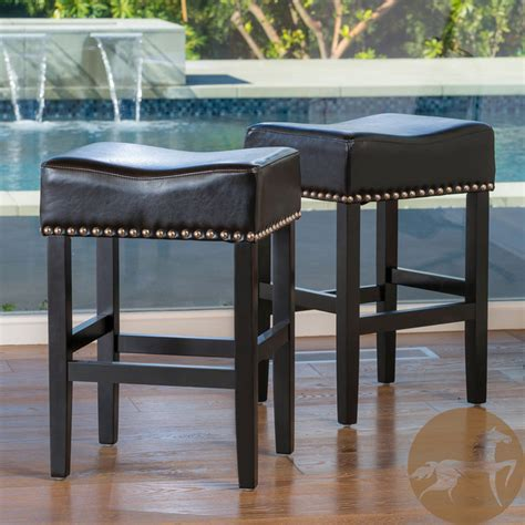 christopher backless bar stools christopher home lisette backless black leather