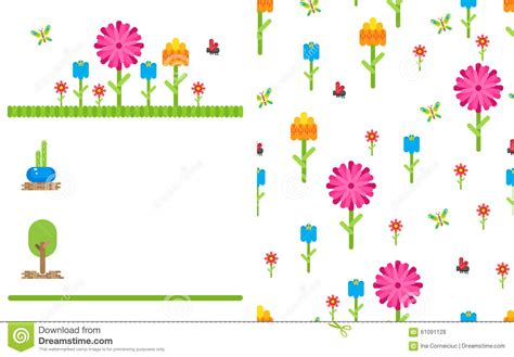 Garden Flower Party Vector Card Template Stock Vector