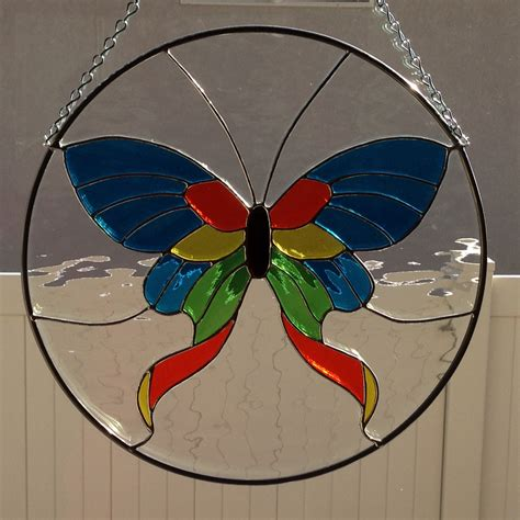 Stained Glass Butterfly L by Stained Glass Butterfly Moth Suncatcher