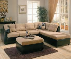 Sectional Or Two Sofas Two Tone Microfiber Brown Faux Leather Sectional Sofa