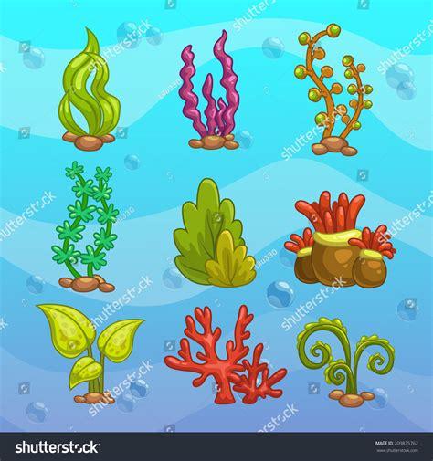 aquarium design eps set cartoon algae elements aquarium decoration stock
