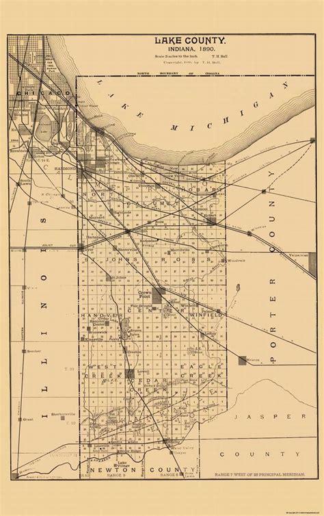 Lake County Search Indiana County Map Lake Indiana 1890 23 X 36 60 Ebay