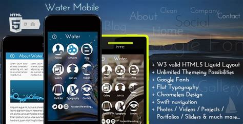 premium html themes download water mobile premium html theme free download free