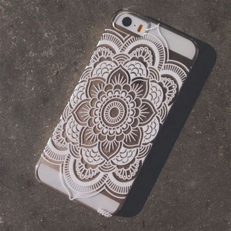 Casing Cover Iphone 5 5s Mandala Flower Shinning Diamonds plastic cover for iphone 5 5s 5c henna mandala