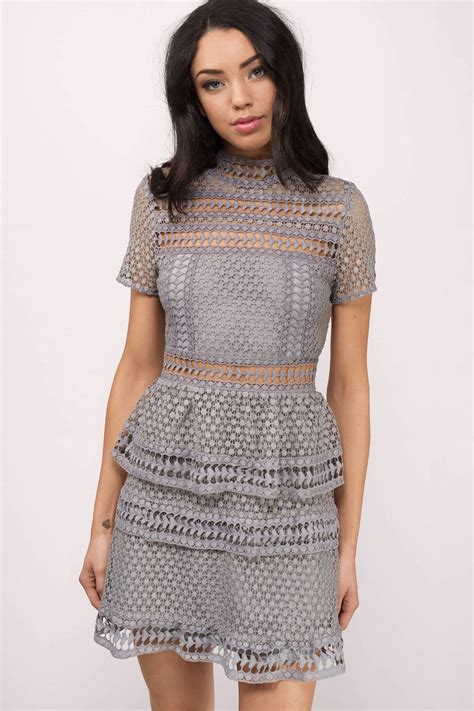 Id Lace Dress trendy grey day dress sleeve dress day dress